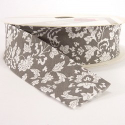 Bies estampado 30mm - Flores Gris