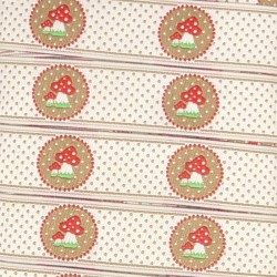Embroidered ribbon 18mm - Red mushrooms Beige dots