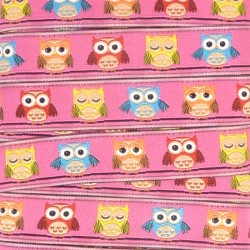 Embroidered ribbon 15mm - Owls Pink