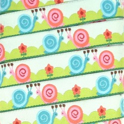 Embroidered ribbon 15mm - Snails