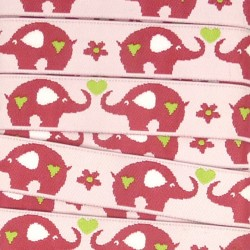 Embroidered ribbon 15mm - Elephants