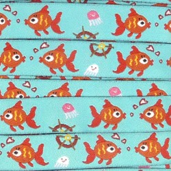 Embroidered ribbon 16mm - Fishes