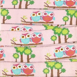 Embroidered ribbon 15mm - Owls Trees