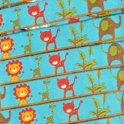 Embroidered ribbon 15mm - Jungle animals