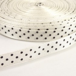 Mini dots grosgrain tape 10mm - White/Black