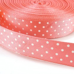 Mini dots grosgrain tape 15mm - Corail