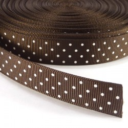 Mini dots grosgrain tape 15mm - Brown