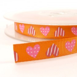 Heart grosgrain tape 10mm - Orange
