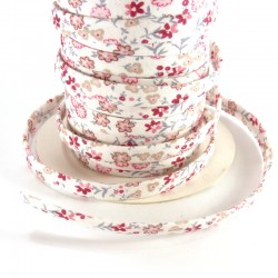 Spaguetti fabric tape 6mm - Pink flowers
