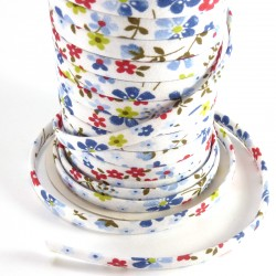 Spaguetti fabric tape 6mm - Blue flowers