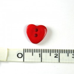 Heart resin button Red