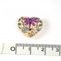 Heart print wood button