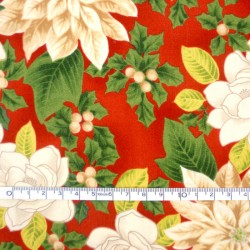 White flowers Christmas fabric - 50cm