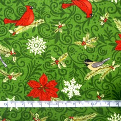 Birds in Green Christmas fabric - 50cm