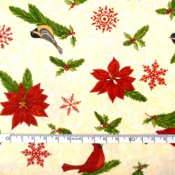 Birds on Cream Christmas fabric - 50cm