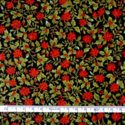 Red flowers Christmas fabric - 50cm