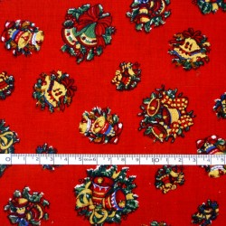 Bells on Red Christmas fabric - 50cm