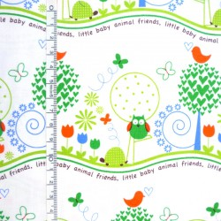 Fat Quarter - Animal friends in Green