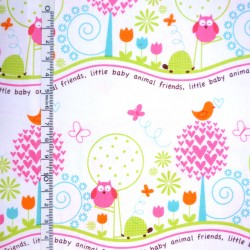 Fat Quarter - Animal friends in Pink
