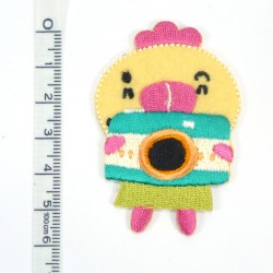 Textil patch - Little Chicken in pink
