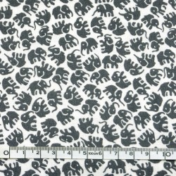 White printed fabric - 50cm