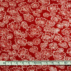 Red printed fabric - 50cm