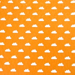 Printed felt clouds orange - 15x15cm