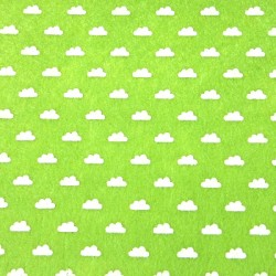 Printed felt clouds green - 15x15cm
