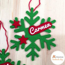 Snowflake on green felt with red ornaments