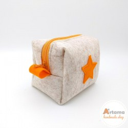 Mini felt pouch with tangerine details
