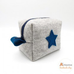 mini felt pouch with deep blue details