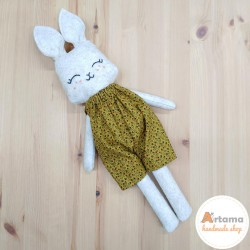 Rabbit doll with mustard pants