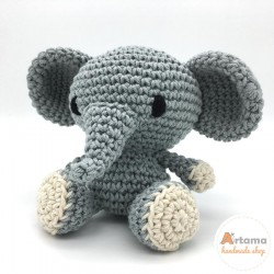 Grey Elephant doll - Amigurumi - Plush animal