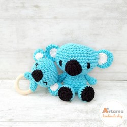 Blue Koala - Pack - Doll and rattle