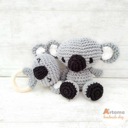 Grey Koala - Pack - Doll and rattle