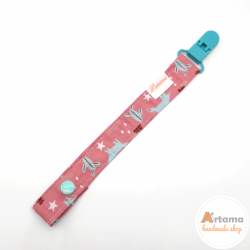 Pale pink foxes pacifier holder