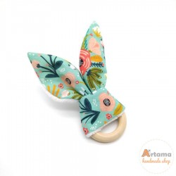 mint floral ears teether