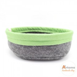 Green felt basket