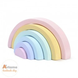 Wooden rainbow pastel colors